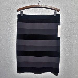 Elle   3 Color Striped Ponte Pull On Skirt